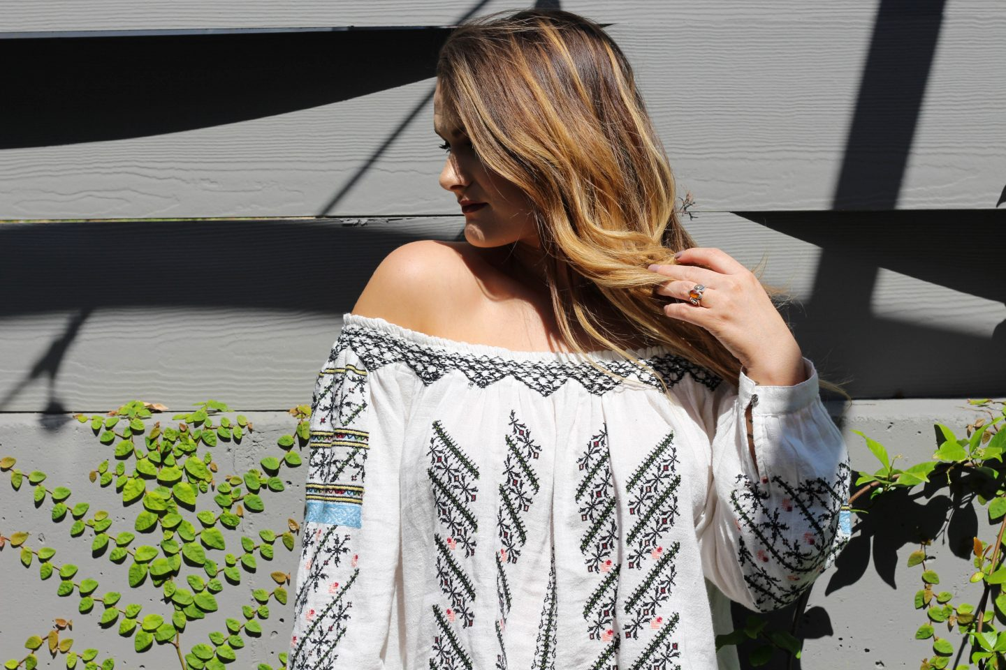 Embroidered Off-the-Shoulder Free People Top