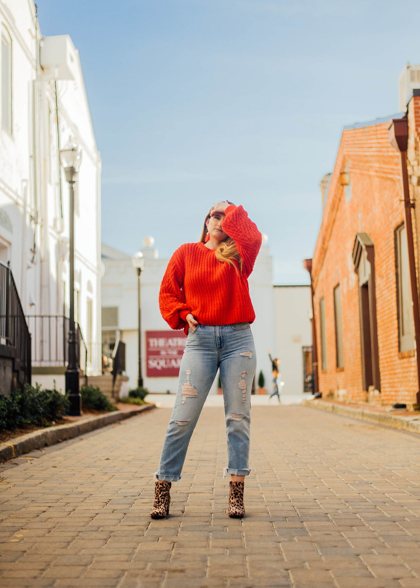 Cozy Red Sweater & Statement Booties