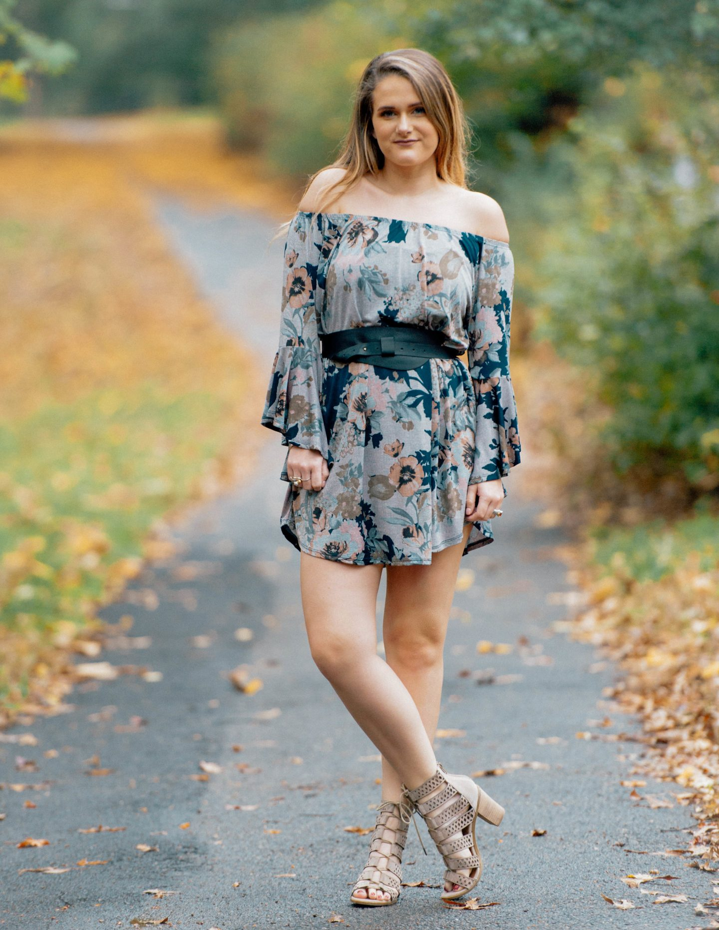 Fall Floral Off The Shoulder Dress